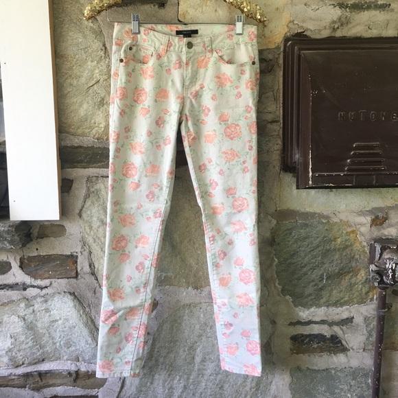 rose print floral skinny jeans, Forever 21, sz 26